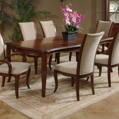 Perfect wooden dining room table for a lovely Thanksgiving dinner!