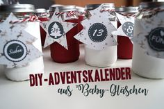 DIY-Adventskalender aus Baby-Gläschen Place Cards, Place Card Holders, November, Amelie, Halloween, Blog, Organisation, Ideas For Christmas, Small Boxes