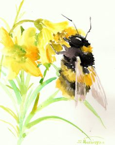 Bumblebee and yellow flowers, original watercolor painting, 10 X 8 in, bee lover art, wildlife