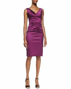 Sleeveless Fitted Ruched Cocktail Dress by Talbot Runhof at Neiman Marcus.