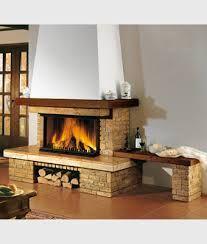 caminetto a legna rustico - panca