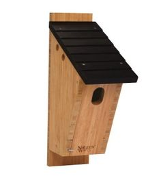 Our Bamboo Peterson-style Bluebird House has been endorsed by the North American Bluebird Society! Designed by Dick Peterson, it has several features that make it very attractive to Eastern Bluebirds, including a steep roof with overhang that prevents predators from reaching into the entrance hole and protects birds from bad weather, a narrow-width preferred by bluebirds, and a larger, oval-shaped entrance hole that mimics natural woodpecker openings.