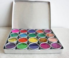 Water Color Paints Made From Flowers with Travel Case by gypsya