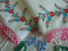 Vintage Pillowcases w Embroidered Pink Blue by HarrietsDaughter, $16.99