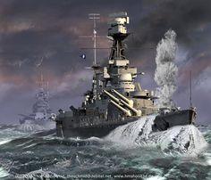 HMS Hood in rough seas.HMS Hood (51) - incrociatore da battaglia della classe Admiral  Entrata in servizio15 maggio 1920 Caratteristiche generali DislocamentoPieno carico 1918: 45.925 t 1940: 49.136 t Lunghezza262,3 m Larghezza31,7 m Pescaggio10,1 m Propulsione25 caldaie a petrolio Yarrow, 4 gruppi turboriduttori Brown-Curtiss, 4 assi eliche, Velocità1920: 31 nodi (57 km/h) 1941: 29 nodi  (54 km/h) Autonomia1931: 5.332 mn a 20 nodi (10.000 km a 37 km/h) Equipaggio1921: 1.169 1941…