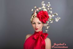 Large Rose Cherry Blossom Fascinator Scarlet Red White Flower Derby Headdress Dogwood Branch Ascot Race Headpiece Floral Valentine Hatinator - pinned by pin4etsy.com