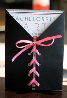 Corset invitations for the bachelorette party ! (or elegant white/ivory ones with satin ribbon for the actual invitation. Corset Invitations, Bachelorette Party Invitations, Wedding Invitations, Bachelorette Ideas, Wedding Stationery, Birthday Invitations, Bachlorette Party, Wedding Events, Our Wedding