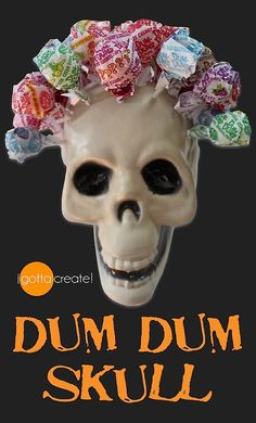 "Transform a cheap plastic skull into a lollipop holder for Halloween. Looks like a Dia de los Muertos rose garland headdress, lovely! Instructions at ""I Gotta Create"". Halloween Dance, Halloween Birthday, Outdoor Halloween, Halloween Skull, Cute Halloween, Holidays Halloween, Halloween Treats, Halloween Decorations, Halloween Goodies"