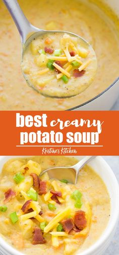 The BEST Creamy Potato Soup recipe! This easy potato soup is made with healthy ingredients on the stove top. It's so good loaded with all of the toppings! #potatosoup #soup #dinnerrecipe
