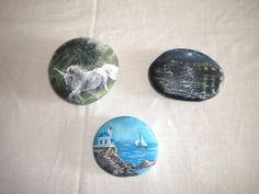 Ζωγραφική σε βότσαλο, Μονόκερως, Νυχτερινό τοπίο, Κυκλαδίτικο νησί - Unicorn, Nightscape, Cycladic Greek Island