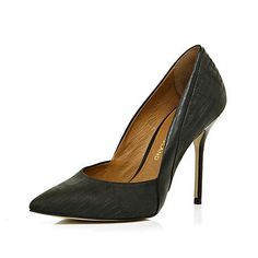 black pointed court shoes - heels - shoes / boots - women - River Island