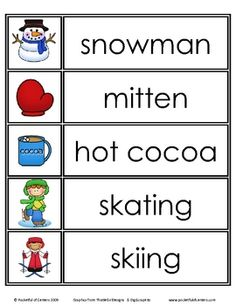 winter words-writing center ( for younger kids make two copies, cut the pics and words apart on one copy and they can match the words)
