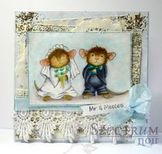 #cre8time for shabby chic with Mr. and Meeces stamp. So adorable! #stampendous #spectrumnoir