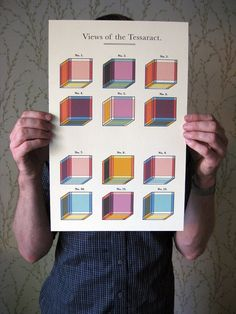 "As seen in ""The Fourth Dimension"" by Charles Hinton and mentioned in Madeleine L'Engle's ""A Wrinkle in Time"" series. This poster features a series of exercises meant to help the viewer better understand how to visualize the fourth dimension. $30 at etsy"