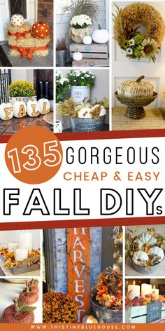 here are best DIY fall decor ideas that are perfect for welcoming autumn. These decor ideas include wreaths, indoor decor and even stunning outdoor porch decor ideas. These best DIY fall decor ideas are guaranteed to glam your house up in time for fal Diy Halloween Decorations, Thanksgiving Decorations, Fall Decorations, Thanksgiving Diy, Cool Diy, Diy Design, Diy Fall Wreath, Autumn Crafts, Diy Autumn