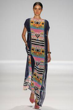 Hippie meets tribal meets geometric print multicolor summer kaftan dress. Mara Hoffman, Ready-to-Wear Spring 2014 #NYFW Photo: Yannis Vlamos