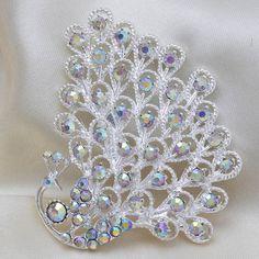 Fashion Hot Sale Silver Peacock Rhinestone Women Wedding Brooch Pins[US$2.60]