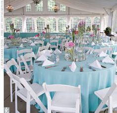 Chandeliers, sky blue linens and pink centerpieces dressed up the airy tent. Mossy arrangements on wrought iron pedestals lined the peripher... Aqua Wedding, Ice Blue Weddings, Tiffany Blue Weddings, Free Wedding, Trendy Wedding, Real Weddings, Wedding Table Linens, Wedding Tables, Marquee Wedding