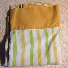 VTG Twin Bed Sheet Flat Cannon Monticello Green Stripe Mod Retro Cutter Fabric #CannonMonticello