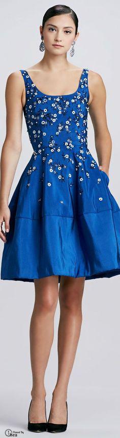 Oscar de la Renta blue dress @roressclothes closet ideas #women fashion outfit #clothing style apparel