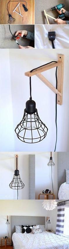 Lámpara DIY de aspecto industrial - nalleshouse.com - DIY Cage Light Sconce