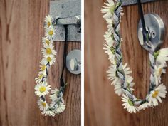 diy flower wreath with a braided headband. This would be real cute with the style that wraps the hair around the headband in the back.
