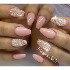 Nude pink glitter nails More