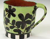 Espresso Cup, Green with Black.  Handmade from Nancy Gardner Ceramics.