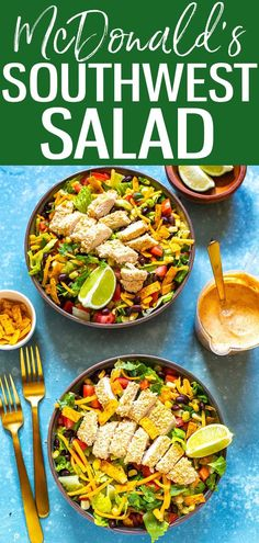 This McDonald's Southwest Salad is a delicious copycat, right down to the southwest dressing and crispy chicken! #mcdonaldscopycat #southwestsalad Ww Recipes, Copycat Recipes, Summer Recipes, Whole Food Recipes, Southwest Salad Dressings, Southwest Dressing, Salad Dressing Recipes, Salad Recipes, Healthy Menu