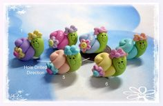 Pastel Snail with Flower Polymer Clay Charm Bead, Scrapbooking, Bow Center, Pendant, Cupcake topper, Magnet, Ring