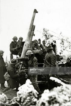 French gun crew manning an anti-aircraft gun
