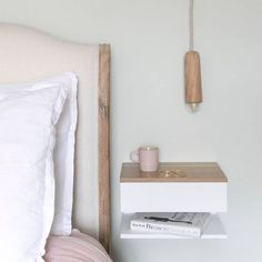 Floating Bedside Table With Oak Top White lacquered beech bedside table with solid oak top. Under Bed Drawers, Bedside Drawers, Under Bed Storage, Floating Nightstand, Tiny Bedroom Storage, Small Bedside Tables, Floating Table, Bedside Shelf, Nightstand Ideas