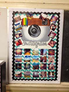 Instagram photo bulletin board of Spanish-speaking countries for the high school Spanish classroom.