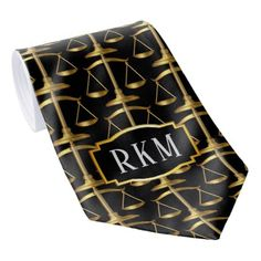 Elegant Gold Law Monogram Scales of Justice Tie - college graduation gift idea cyo custom customize personalize special