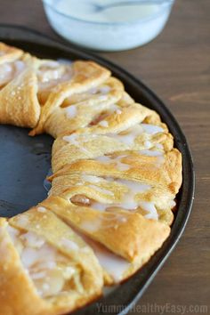 Apple Cream Cheese Breakfast Pastry Recipe ~ Breakfast pastry ring made with crescent rolls and topped with a delicious cream cheese layer and apple pie filling. Looks fancy but it's so easy. Good for a brunch too. Cream Cheese Breakfast, Breakfast Pastries, Breakfast Items, Breakfast Dishes, Breakfast Recipes, Dessert Recipes, Apple Breakfast, Pastry Recipes, Breakfast Casserole