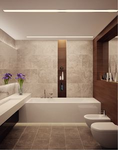 gorgeous contemporary stream lined bathroom. trough sink, ledges in contrasting material, it all works Interior apartment 150m in LCD Grand Park, Architectural Office of Alexandra Fedorova