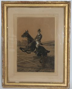 ENGRAVING ENGLISH Condamy (1855-1913) Representing a horse and his Jockey jumping the barrier frame Louis XVI gilded stucco Era nineteenth century H: 69; L: 47 cm Charles-Ferdinand Condamy (1855-1913) was a French painter and watercolorist, specializing in animal type.  In the sale Grande Collection de Prestige Mobilier et Objets d'Art at Oise Enchères
