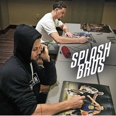 Klay & his fellow Splash Brother, Steph, signing autographs! Love them.