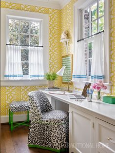 Nashville Home with Pretty Color and Pattern | Traditional Home Love the wallpaper but not the cheetah print chair.