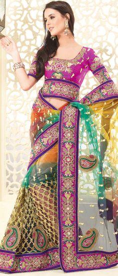 #Orange and Green Net #Saree