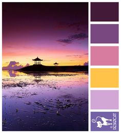 Pagoda Sunset - Purple, Plum, pink, yellow, lilac, aubergine - Designcat Colour Inspiration Pallet