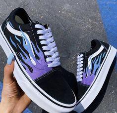 shoes sneakers vans old skool Blue Flame Black Canvas Old Skool - Vans Customisées, Tenis Vans, Adidas Shoes, Adidas Men, Shoes Skechers, Vans Shoes Fashion, Shoes Men, Vans Shoes For Girls, Golf Shoes