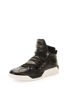 Benelux Leather High-Top Sneaker by Dolce & Gabbana at Neiman Marcus.