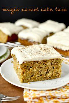 I'll need to try these...Magic Carrot Cake Bars | iowagirleats.com