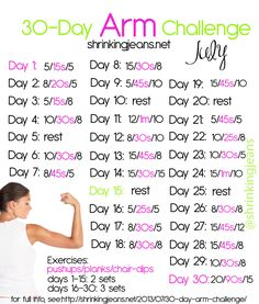 30 Day Arm challenge with @shrinkingjeans! Get strong, toned arms with this free monthly workout calendar! #fitness #exercise #workout