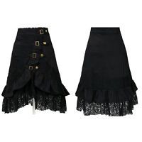 Women's Steampunk Clothing Party Club Wear Punk Gothic Vintage Black Lace Skirt