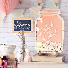 Mason Jar wedding guest book alternative Drop hearts