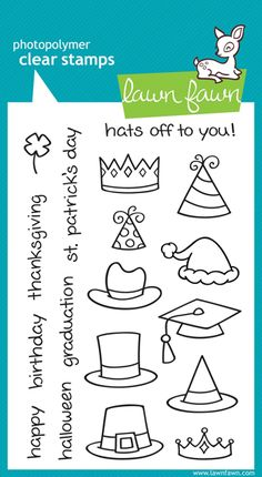 Lawn Fawn - Clear Acrylic Stamps - Hats Off to You at Scrapbook.com