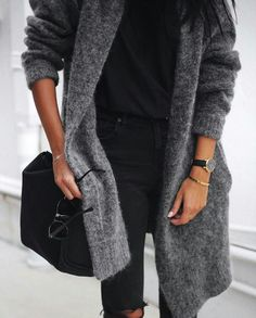 //Grey open cardigan