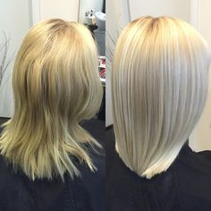 Long Blond Bob with Highlights and Straighten out with Ghd